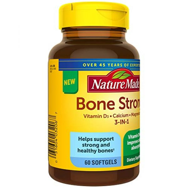 Nature Made Calcium Supplement 5 Nature Made Bone Strong with Calcium 260mg Helps Support Bone Strength, Vitamin D3 1000IU to Aid in Calcium Absorption, and Magnesium 250mg for Bone Health, 60 Count