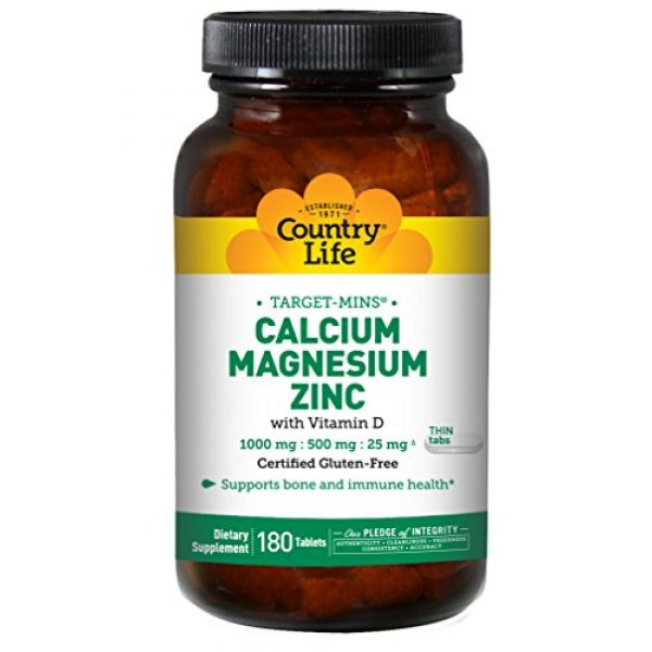 Country Life Calcium Supplement 1 Country Life Target-Mins Calcium Magnesium Zinc w/Vitamin D 1000mg/500mg/25mg - 180 Tablets - Supports Bone & Immune