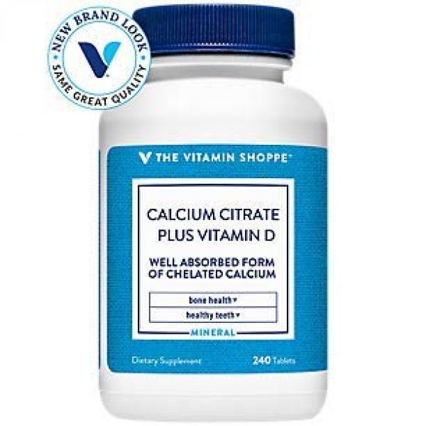The Vitamin Shoppe Calcium Supplement 1 Calcium Citrate with 400IU Vitamin D - Mineral Essential for Healthy Bones Teeth - 100 Daily Value of Well Absorbed Form of Chelated Calcium, Vitamin D (as Ergocalciferol) (240 Tablets)