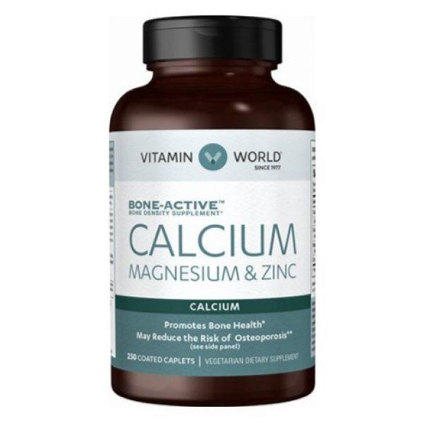 """Vitamin World Calcium Supplement 1 Vitamin World Calcium Magnesium Zinc""""Promotes Bone Health 250 Coated caplets"""