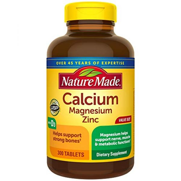 Nature Made Calcium Supplement 1 Nature Made Calcium, Magnesium Oxide, Zinc with Vitamin D3 helps support Bone Strength, Tablets, 300 Count