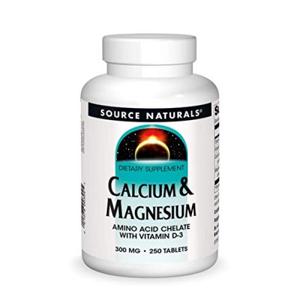 Source Naturals Calcium Supplement 1 Source Naturals Calcium & Magnesium Dietary Supplement - Amino Acid Chelate with Vitamin D-3 - 250 Tablets