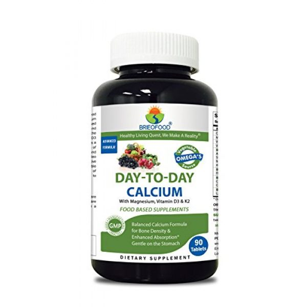 Brieofood Calcium Supplement 1 Brieofood Calcium 90 Tablets, Food Based Daily Calcium Supplement Made with Vegetable Source Omegas, probiotics and Herbal Blends