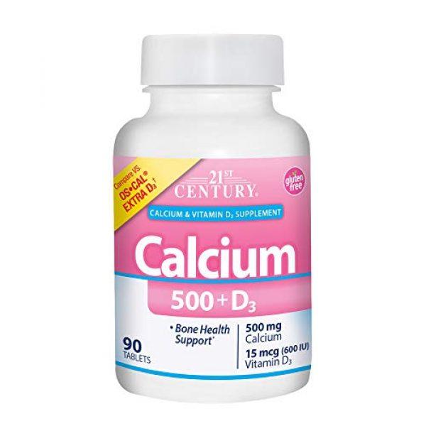 21st Century Calcium Supplement 1 21st Century Calcium Plus Extra D Caplets, 500 mg, 90 Count, Pack of 3
