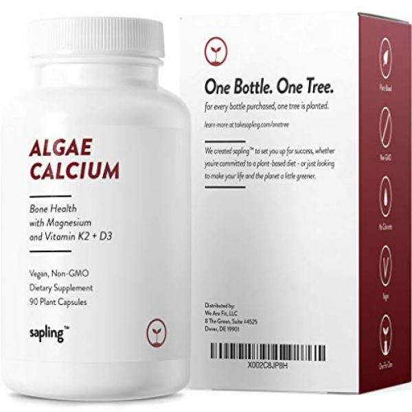 sapling Calcium Supplement 4 Calcium Supplement - Whole Food with Vitamin K2 & D3, Magnesium, Zinc, Boron, Mineral Complex. Sourced Sustainably from Red Algae. for Bone Strength and Support. Non-GMO & Vegan 90 Capsules.