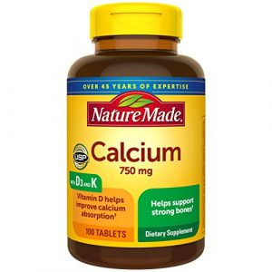Nature Made Calcium Supplement 1 Nature Made Calcium 750 mg with Vitamin D3 and K helps support Bone Strength, Tablets, 100 Ct