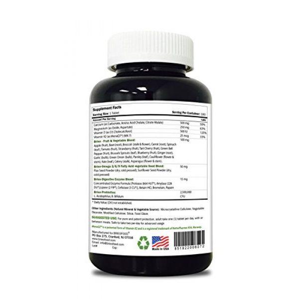 Brieofood Calcium Supplement 3 Brieofood Food Based Calcium 180 Tablets - Premium Formula with Brieofood Fruit & Vegetable Blends, Digestive Blend, Vegetable Omega Blend