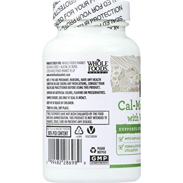 365 by Whole Foods Market Calcium Supplement 5 365 Everyday Value, Cal-Mag Citrate with Vitamin D3, 90 ct