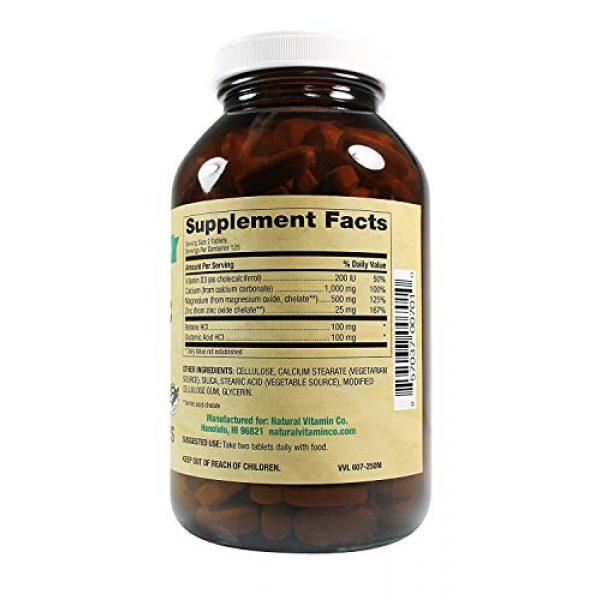 Natural Vitamin Co. Calcium Supplement 3 Natural Vitamin Co. - Cal-Mag-Zinc with Vitamin D3, Calcium 1000mg, Magnesium 500mg, Zinc 25mg, D3 200 IU, 250 Tablets, 4 Month Supply, Gluten Free, Vegetarian
