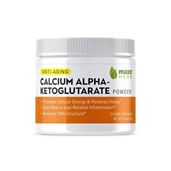 Maxx Herb Calcium Supplement 3 Maxx Herb Calcium Alpha - Ketoglutarate (Ca-AKG) Pure Powder (100 Grams) for Energy, Vitality, Mental Focus, Clarity & DNA Structure, Non-GMO and Gluten Free (1 Jar) 67 Servings