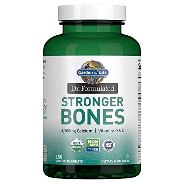 Garden of Life Calcium Supplement 1 Garden of Life Dr. Formulated Stronger Bones, Organic Calcium Supplement with Vitamin D & Vitamin K for Bone Health, Bone Strength, Osteoporosis Supplements for Women & Men, 150 Vegetarian Tablets
