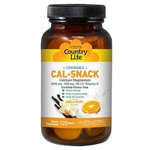 Country Life Calcium Supplement 1 Country Life Cal-Snack Chewable Calcium with Magnesium (Milk-Free), 120-Wafer
