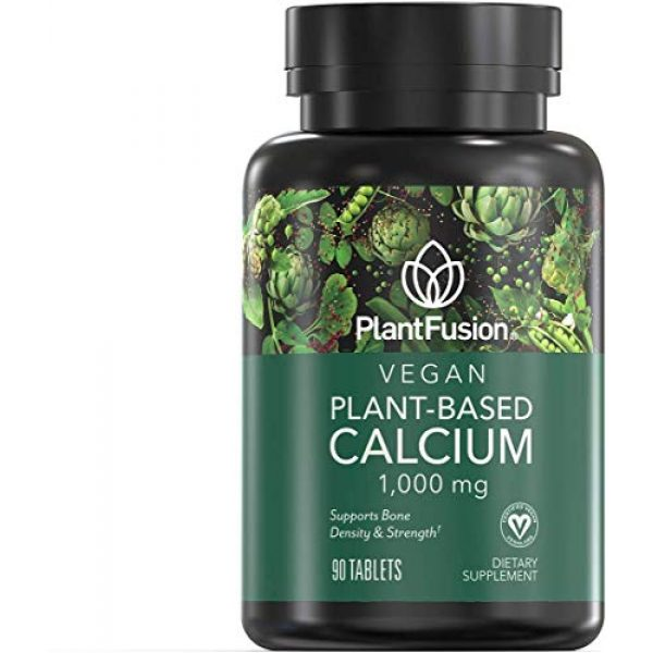 PlantFusion Calcium Supplement 1 PlantFusion Calcium Vegan Vitamin 1,000 mg | Supports Bone Density and Strength with Mineralized Red Algae, Plant Based, Gluten and Soy Free, Dietary Supplement, 1 Month Supply, 90 Tablets