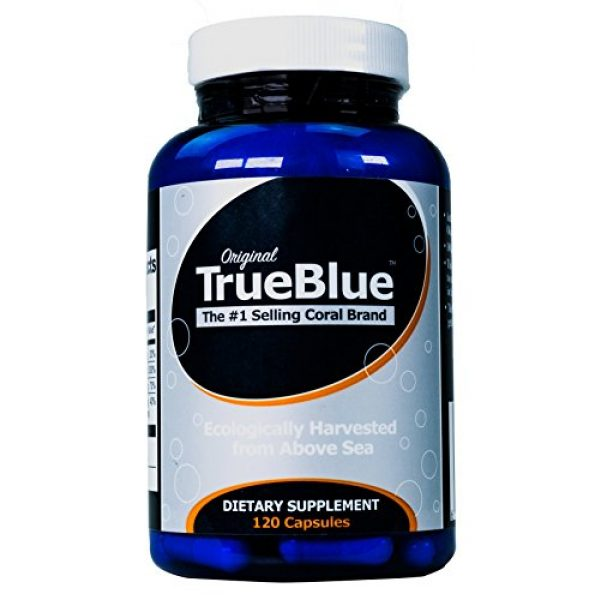 True Blue Calcium Supplement 1 Premium Coral Calcium Supplement - Pure Coral Capsules (120 Gelatin Caps) - from Okinawa Japan with 73 Vital Minerals and Elements - Contains Magnesium and Vitamin D3-40-Day Supply