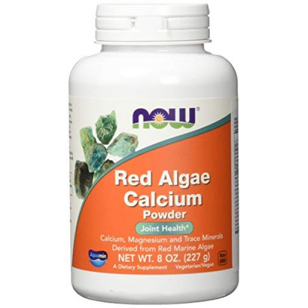 NOW Foods Calcium Supplement 1 NOW Supplements, Red Algae Calcium Powder with Calcium, Magnesium and Trace Minerals Derived from Red Marine Algae, 8-Ounce