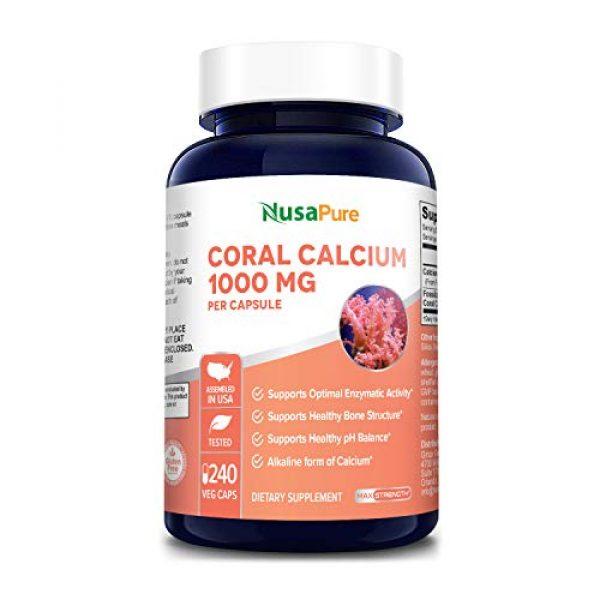 NusaPure Calcium Supplement 1 Coral Calcium 1000 mg 240 Veggie Caps (Non-GMO & Gluten-Free) Supports Bone Health & PH Levels*- Contains Magnesium, 73 Minerals and Vitamin D3