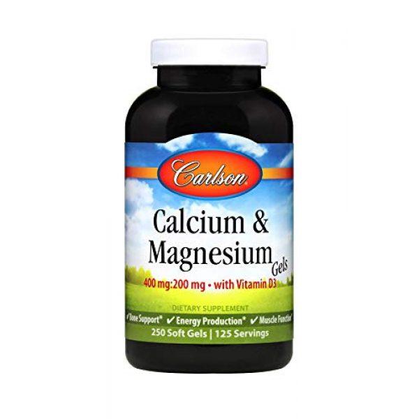 Carlson Calcium Supplement 1 Carlson - Cal-Mag Gels, 2:1 Calcium to Magnesium Ratio, Calcium Magnesium Supplement & Vitamin D, 200 mg Calcium Supplement, 100 mg Magnesium Supplement, Bone Support, Energy Production, 250 Softgels