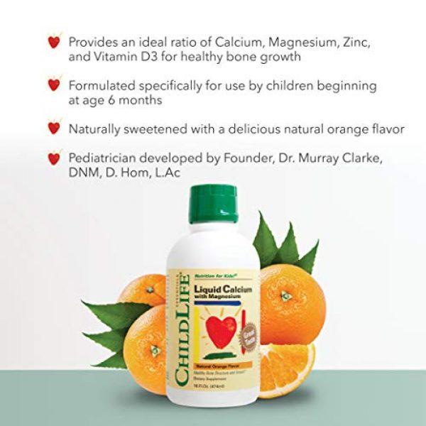 CHILDLIFE ESSENTIALS Calcium Supplement 3 ChildLife Essentials Liquid Calcium with Magnesium for Infants, Babys, Kids, Toddlers, Children, and Teens Orange Flavored Dietary Supplement, 16 oz (Pack of 4)