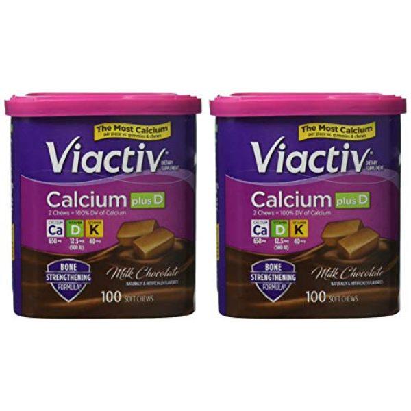 Viactiv Calcium Supplement 4 VIACTIV Calcium Plus D, Soft Chews, Milk Chocolate 100 ea (Pack of 2)