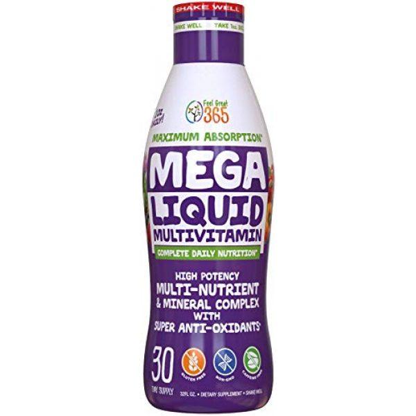 Feel Great 365 Calcium Supplement 1 Feel Great Vitamin Co. Superfood Mega Liquid Multivitamin | Natural Immune Support including Vitamins & 72 Trace Minerals, Vitamin D3, E, Glutathione, Resveratrol, Milk Thistle, Green Tea, Ginseng & More