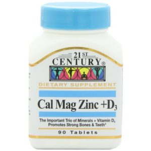 21st Century Calcium Supplement 1 21st Century Cal Mag Zinc +D Tablets, 90 Count (Pack of 2)