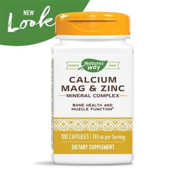 Nature's Way Calcium Supplement 3 Nature's Way Calcium, Magnesium & Zinc, 765 mg per serving, 100 Capsules