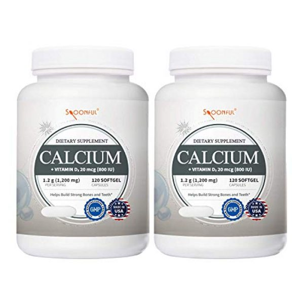 Spoonful Calcium Supplement 1 Spoonful Calcium Carbonate 1200 mg with 800 IU Vitamin D3, 120 Tablets, Supports Bone Health and Strength, Made in USA [2 PK]