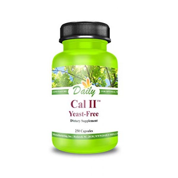 Daily Manufacturing Calcium Supplement 2 Daily Manufacturing Cal-II Yeast Free 250 Vegetarian Capsules Calcium Dietary Supplement