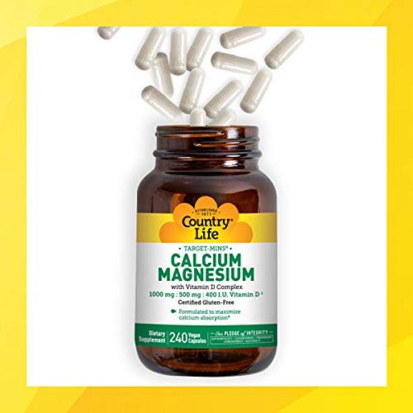 Country Life Calcium Supplement 5 Country Life, Calcium Magnesium, w/Vitamin D Complex, 240 Veggie Caps