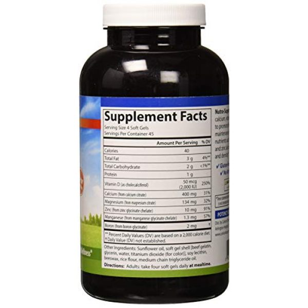 Carlson Calcium Supplement 3 Carlson - Nutra-Support Bone, Calcium, Magnesium & Vitamin D3, Bone Health, Calcium Absorption & Optimal Wellness, 180 Softgels