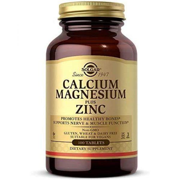 Solgar Calcium Supplement 1 Solgar Calcium Magnesium Plus Zinc, 100 Tablets - Promotes Healthy Bones and Teeth - Supports Nerve & Muscle Function - Non GMO, Vegan, Gluten Free, Dairy Free, Kosher, Halal - 33 Servings
