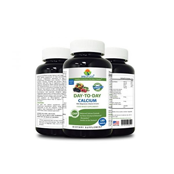 Brieofood Calcium Supplement 4 Brieofood Food Based Calcium 180 Tablets - Premium Formula with Brieofood Fruit & Vegetable Blends, Digestive Blend, Vegetable Omega Blend