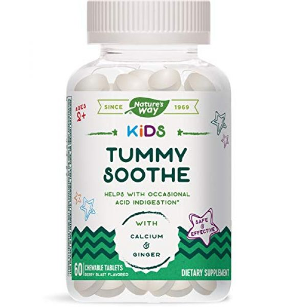 Nature's Way Calcium Supplement 1 Natures Way Kids Tummy Soothe, with Calcium & Ginger, Berry Blast Flavored, 60 Vegetarian Chewables