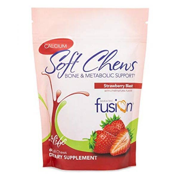 Bariatric Fusion Calcium Supplement 1 Bariatric Fusion Calcium Citrate 500mg & Energy Soft Chews Strawberry Blast Flavor for Bariatric Surgery Patients Including Gastric Bypass and Sleeve Gastrectomy, 60 count, Sugar Free, Made in The USA