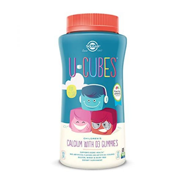Solgar Calcium Supplement 1 Solgar U-Cubes Children's Calcium with Vitamin D3, 120 Gummies - 3 Flavors, Pink Lemonade, Blueberry & Strawberry - Supports Bone & Teeth Health - Non GMO Gluten Free, Dairy Free - 60 Servings