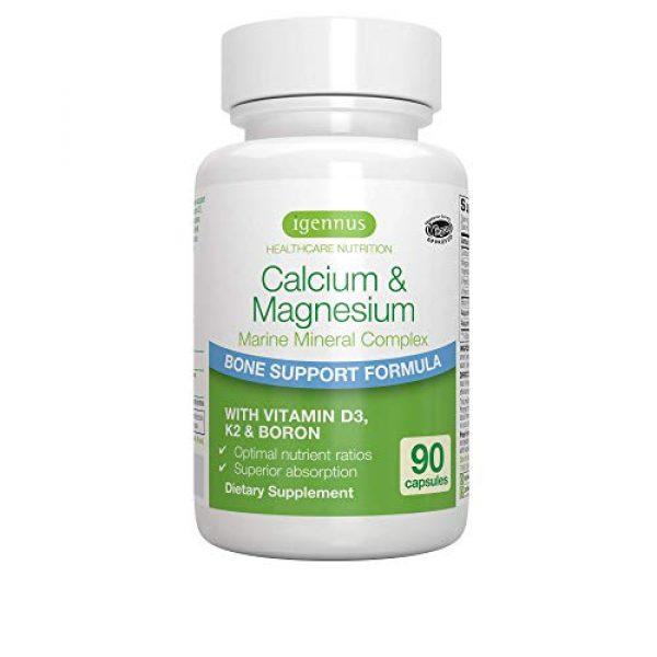Igennus Healthcare Nutrition Calcium Supplement 1 Calcium & Magnesium Advanced Bone Supplement, Algae Mineral Complex with Boron, Vitamins K2 & D3, Vegan, 90 Capsules, by Igennus