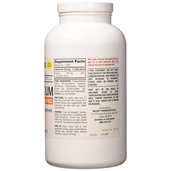 Major Pharmaceuticals Calcium Supplement 2 Oyster Shell Calcium Tablets, 500mg, 1000ct