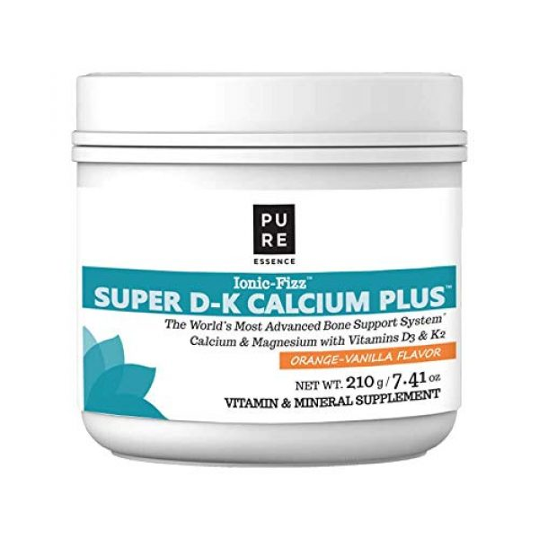 PURE ESSENCE LABS Calcium Supplement 1 Pure Essence Ionic Super D-K Calcium Plus by Pure Essence - With Extra Magnesium, Vitamin D3, Vitamin K2 For Strong Bones and Stress Relief - Orange Vanilla - 7.41oz
