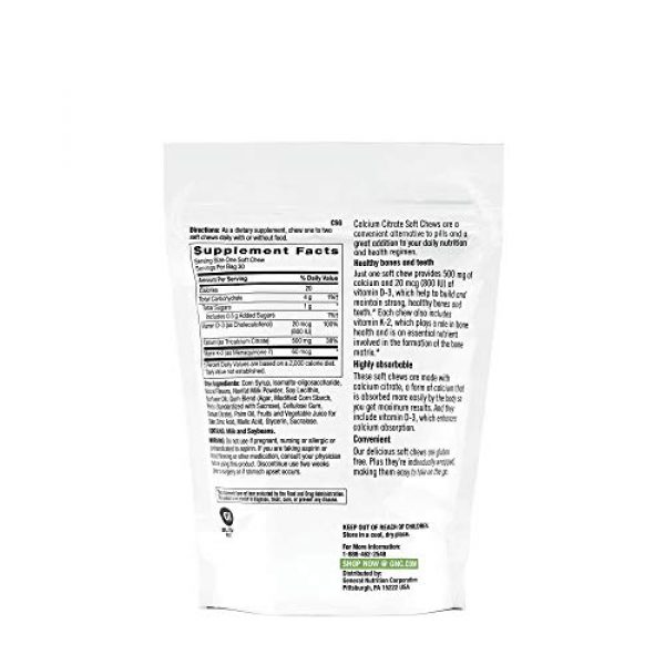 GNC Calcium Supplement 2 GNC Calcium Citrate - Berries and Cream, 30 Soft Chews, Maintains Healthy Bones and Teeth
