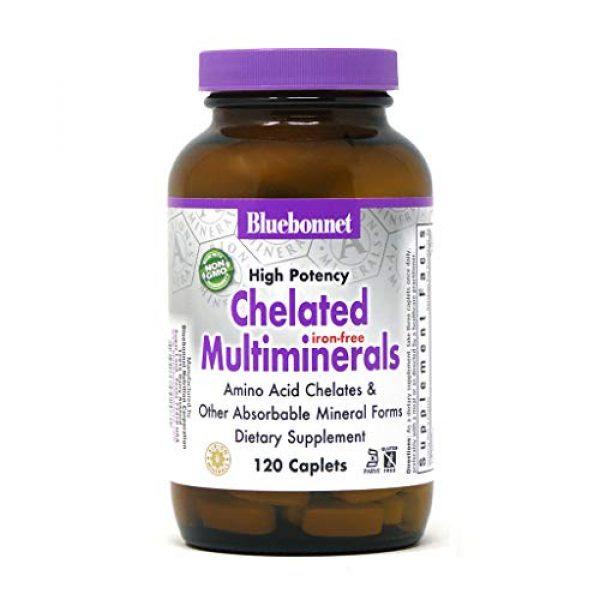 Bluebonnet Calcium Supplement 1 Bluebonnet Nutrition High Potency Chelated Multiminerals (Iron-Free) Caplets, 120 Count