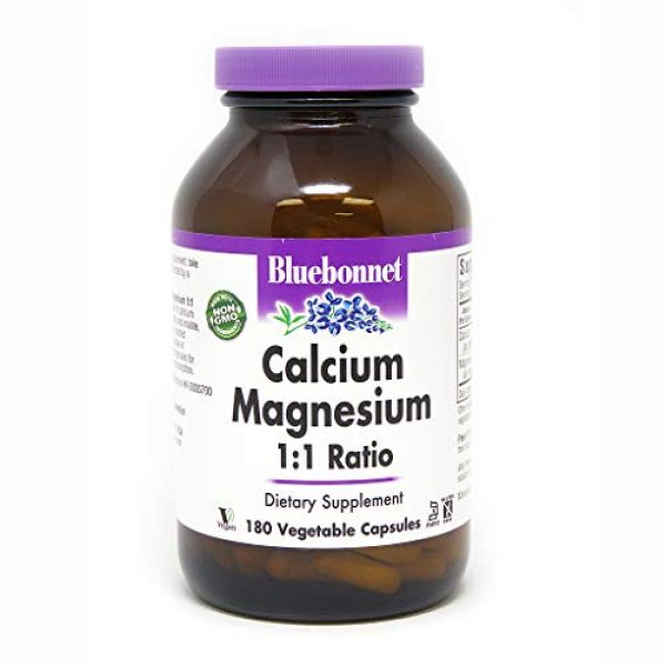 BlueBonnet Calcium Supplement 1 BlueBonnet Calcium Magnesium 1:1 Ratio Vegetarian Capsules, 180 Count, White