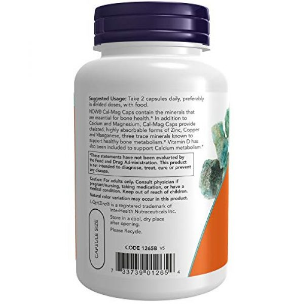 NOW Foods Calcium Supplement 3 NOW Supplements, Cal-Mag with Zinc, Copper, Manganese and Vitamin D, 120 Capsules