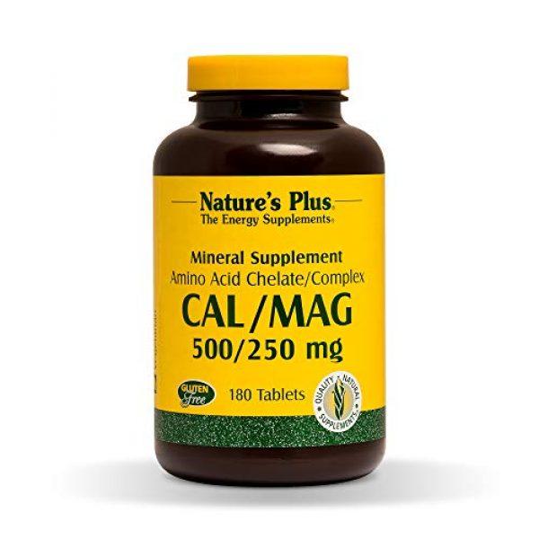 Nature's Plus Calcium Supplement 1 NaturesPlus Cal/Mag - 500 mg Calcium, 250 mg Magnesium, 180 Vegetarian Tablets - Bone Health Support Supplement, Promotes Heart Health - Gluten-Free - 180 Servings