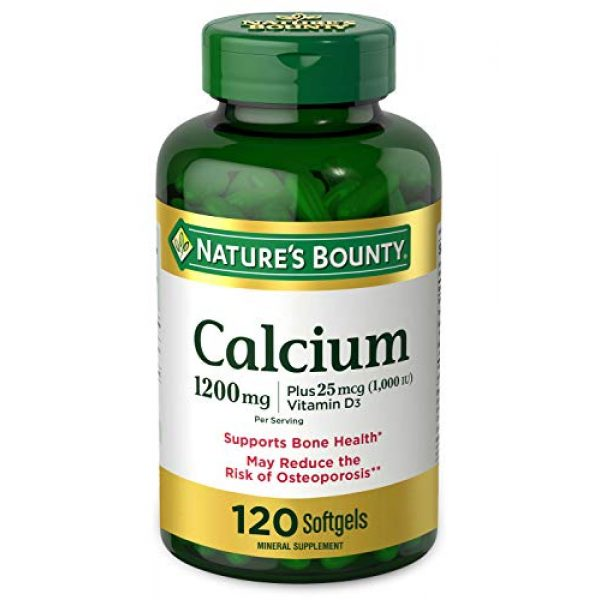 Nature's Bounty Calcium Supplement 1 Calcium Carbonate & Vitamin D by Nature's Bounty, Supports Immune Health & Bone Health, 1200mg Calcium & 1000IU Vitamin D3, 120 Softgels