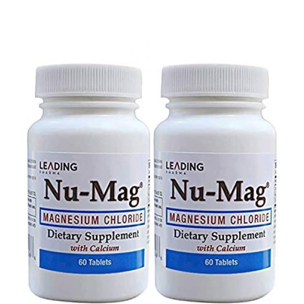 NU-MAG Calcium Supplement 1 NU-MAG Magnesium Chloride with Calcium (60 Tablets Each) (2 Pack) Helps with Metabolism, Maintaining Heart & Muscle Function and Magnesium Deficiency in The Blood