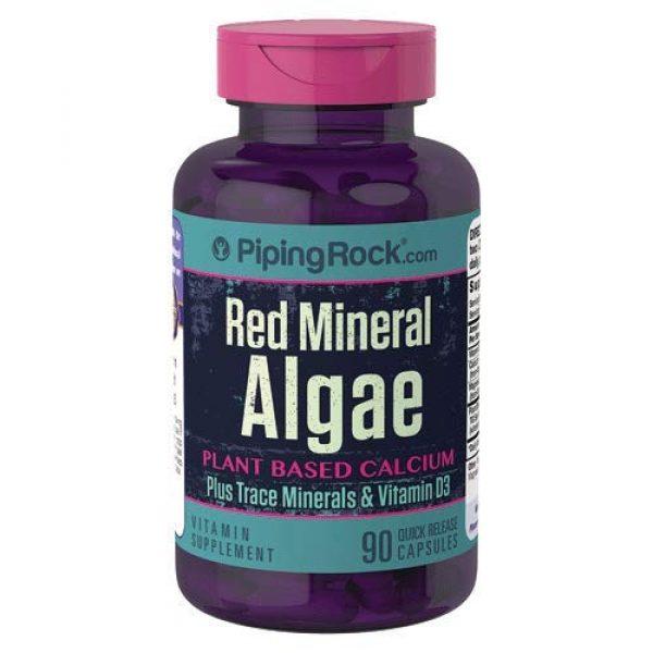 Piping Rock Calcium Supplement 1 Red Mineral Algae (Aquamin Plant Based Calcium) 90 Capsules