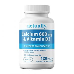 Actually Calcium Supplement 1 Actually Calcium & Vitamin D3 600mg Tablets, 120ct - Support Bone Health for Adults - 120-Day Supply