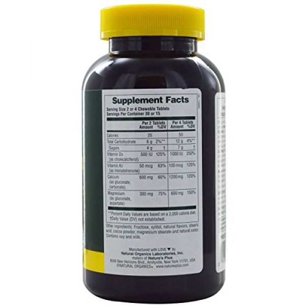 Nature's Plus Calcium Supplement 2 NaturesPlus Cal/Mag/VIT D3 with Vitamin K2-60 Chewable Tablets - Chocolate Flavor - Calcium, Magnesium, Vitamin D3 & K2 Bone Health Support Supplement - 30 Servings