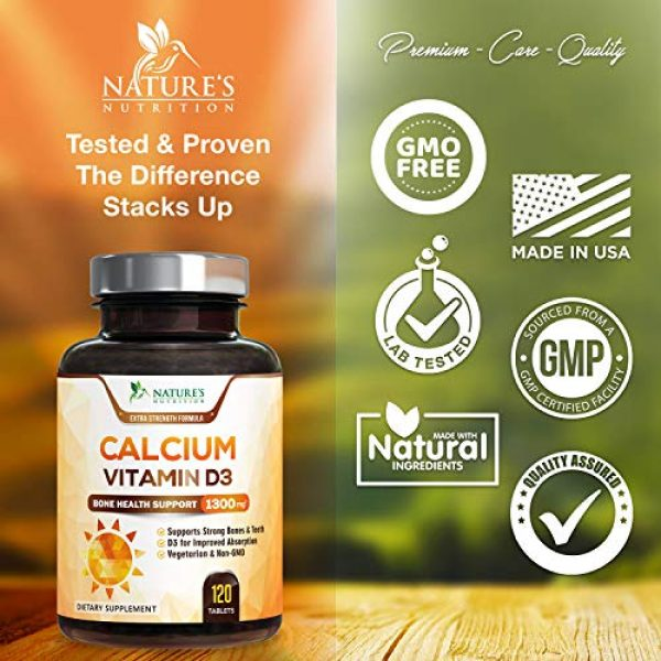 Nature's Nutrition Calcium Supplement 3 Calcium Supplement with Vitamin D3 - High Potency Calcium Carbonate 1300mg - Made in USA - Calcium to Support Bone Health and Help Strong Bones for Women and Men - Non-GMO - 120 Tablets