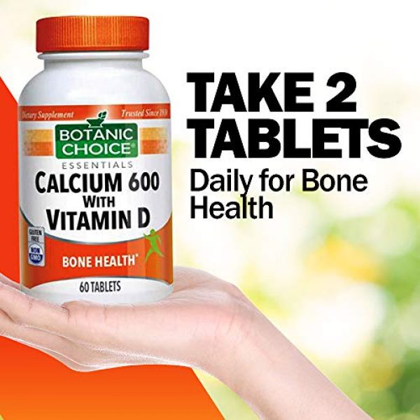 Botanic Choice Calcium Supplement 6 Botanic Choice Calcium 600 with Vitamin D - Adult Daily Supplement - Combines Essential Vitamins and Minerals to Support Proper Absorption Promotes Bone Health and Overall Wellness
